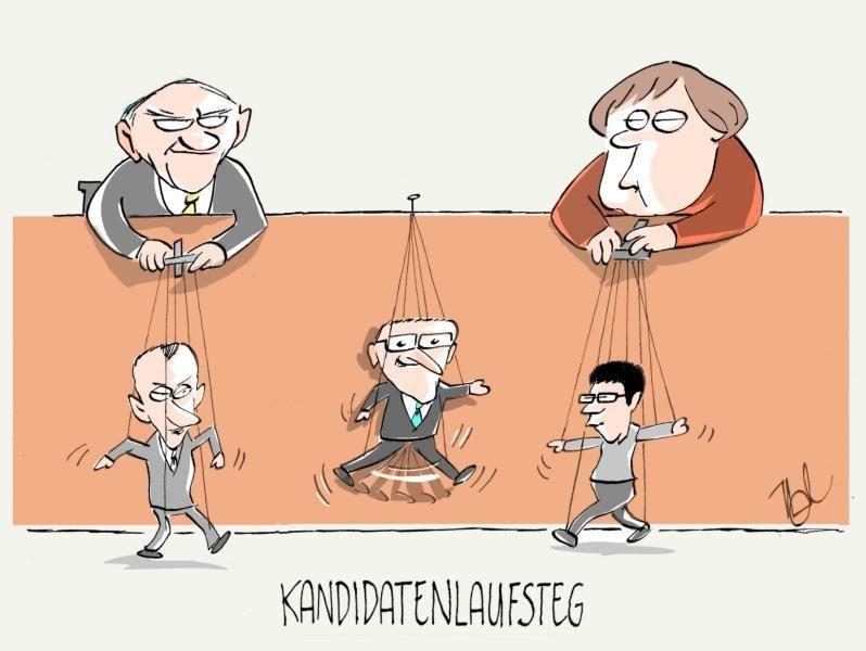 cdu merz karrenbauer spahn vorsitz kandidaten laufsteg