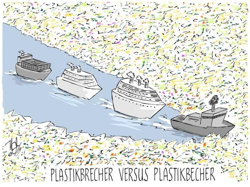 müll meer plastikbrecher plastikbecher