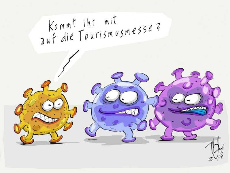 corona grippe viren epidemie touristik messe