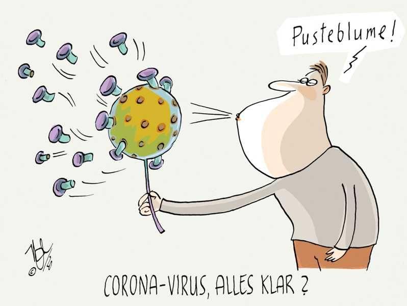 corona virus alles klar pusteblume