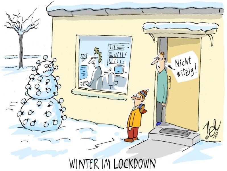 corona winter im lockdown schnee