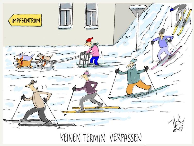 impfzentrum termine verpassen winter schnee