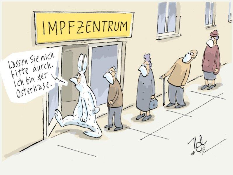 corona pandemie impfzentrum osterhase