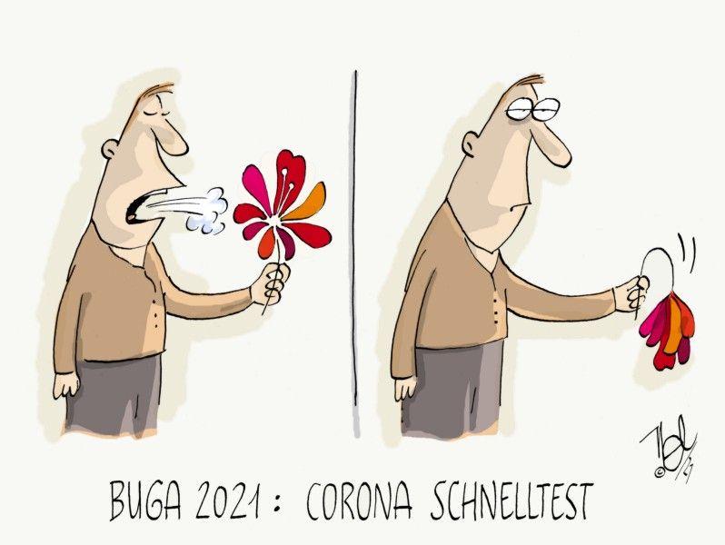 corona pandemie schnelltest BUGA 2021