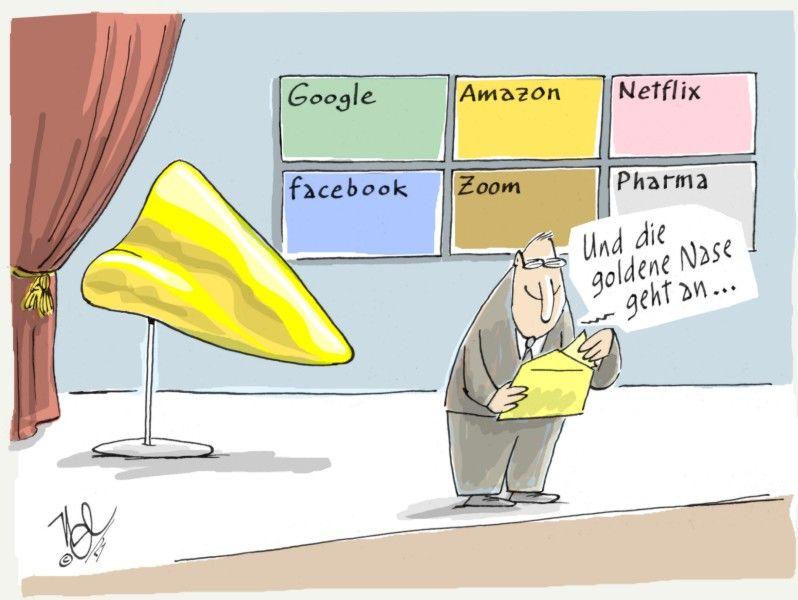 corona pandemie goldene nase google amazon facebook zoom pharma