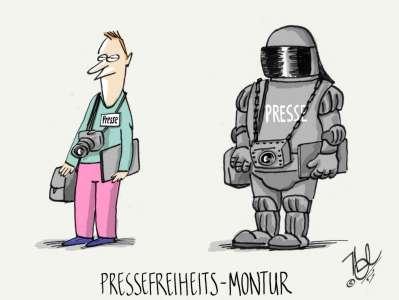 presse gerüstet pressefreiheits montur
