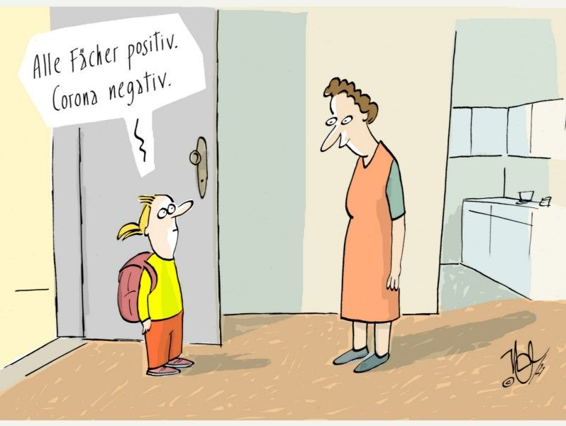 zeugnisausgabe schule fächer positiv corona negativ